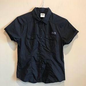 Harley Davidson Black Graphic Button Up Shirt